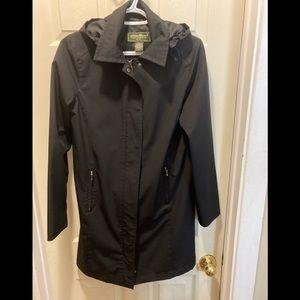 Eddie Bauer petite ladies black long rain coat sm